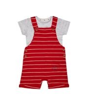 Mothercare Red Stripe Bibshorts And Bodysuit Set