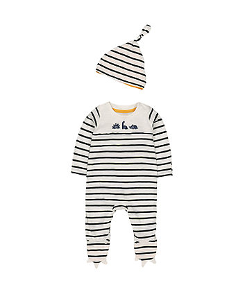 Mothercare Dino Stripe All In One With Hat