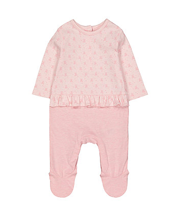 Mothercare My First Pink Bear Mock Frill Top All In One