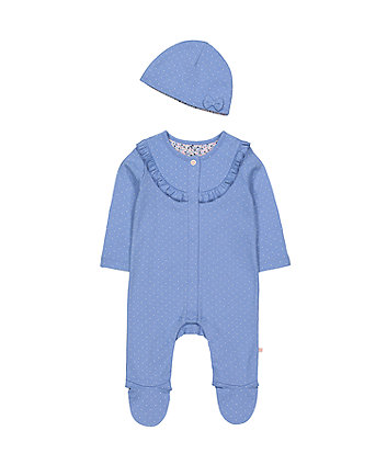 Mothercare Blue Ruffle Spot All In One And Hat Set