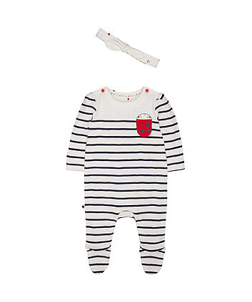 Mothercare Striped Ladybird All In One With Headband