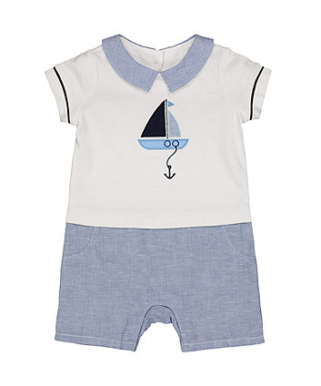 Mothercare Boat Mock Top Romper