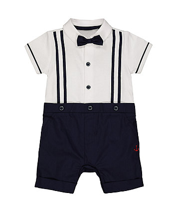Mothercare Navy And White Mock Shirt And Braces Romper