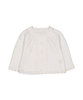Mothercare White Pointelle Knit Cardigan