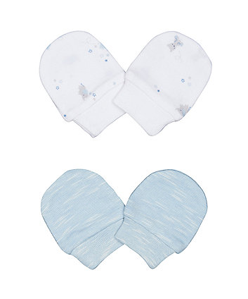Mothercare My First Bear White And Blue Scratch Mitts - 2 Pack