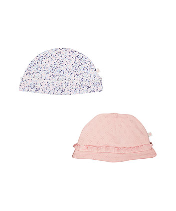 Pink And Floral Hats - 2 Pack