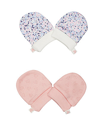 Mothercare Pink And Floral Scratch Mitts - 2 Pack