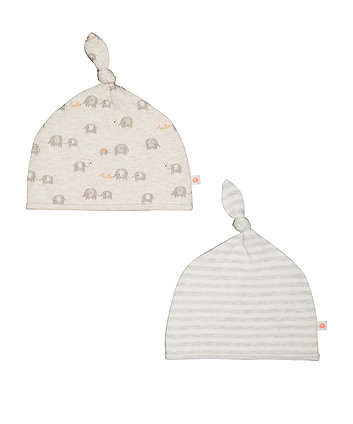 Stripe And Elephant Hats - 2 Pack