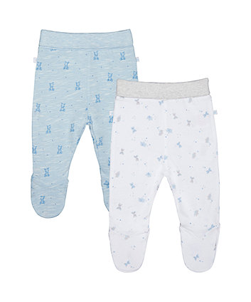 My First Bear And Elephant Leggings With Feet - 2 Pack