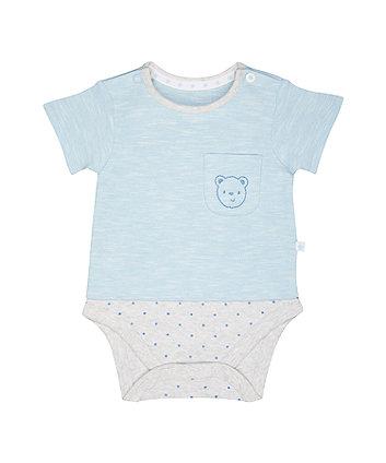 Mothercare My First Bear Mock Bodysuit
