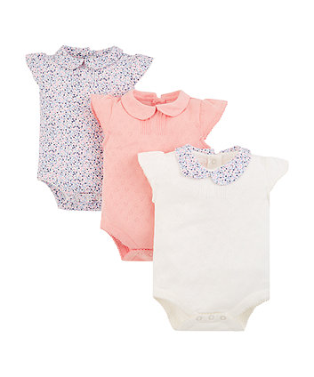Mothercare Pointelle And Floral Bodysuits - 3 Pack