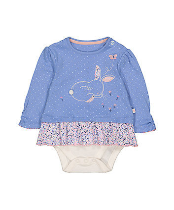 Mothercare Bunny And Flowers Mock Top Bodysuit