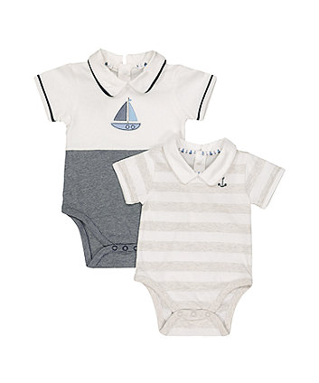 Mothercare Boat And Stripe Collared Bodysuits - 2 Pack