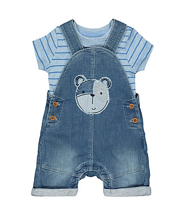Mothercare My First Bear Denim Bibshorts And Bodysuit Set