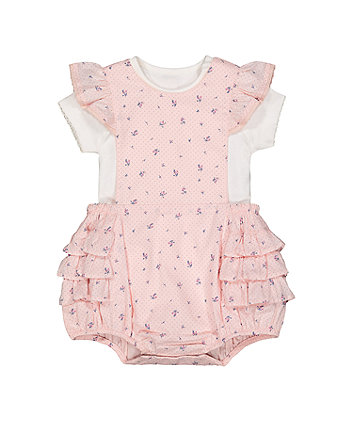 Mothercare Pink Ditsy Bibshorts And Bodysuit Set