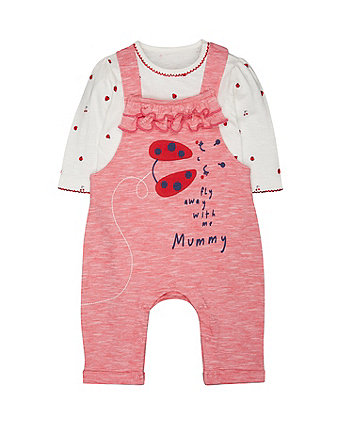Striped Strawberry Dungarees And Bodysuit Set (Size - 0-3 months)