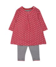 Mothercare Red Polka Dot Dress and Stripe Leggings Set
