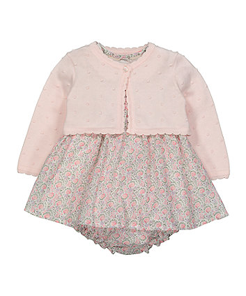 Mothercare Pink Cardigan, Floral Dress And Knickers Set