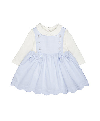 Mothercare Ticking Stripe Bow Dress And Bodysuit