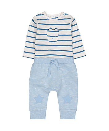 Mothercare My First Blue Bunny Bodysuit And Star Joggers Set