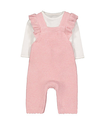 Mothercare My First Knitted Dungarees And Bodysuit Set