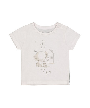 My First White Sleepy Elephant T-Shirt