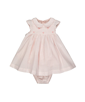Mothercare Pink Stripe Smock Dress And Bloomers Set