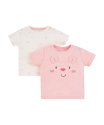 Mothercare My First Pink Mouse And Ballet Shoes T-Shirts – 2 Pack