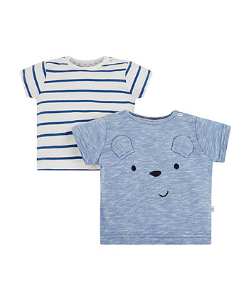 Mothercare My First Blue Stripes And Bear T-Shirts - 2 Pack