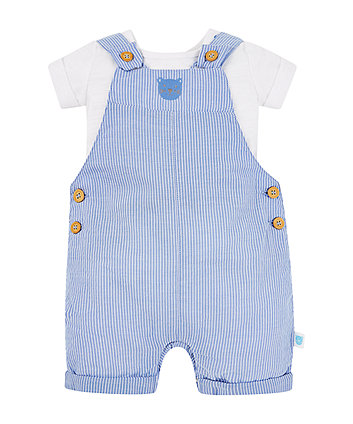 Stripe Bear Bibshorts And White Bodysuit Set