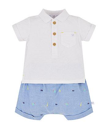 Mothercare Chambray Shorts And Polo Set