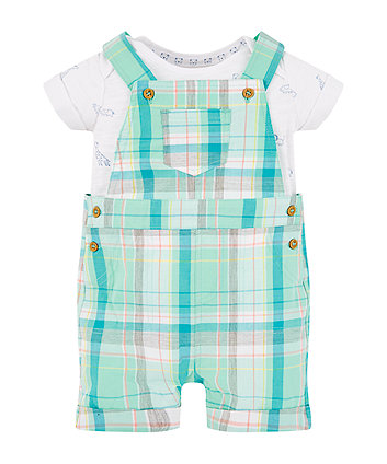 Mothercare Green Check Bibshorts And Animal Bodysuit Set