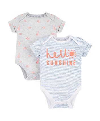 Mothercare Hello Sunshine And Jungle Bodysuits – 2 Pack