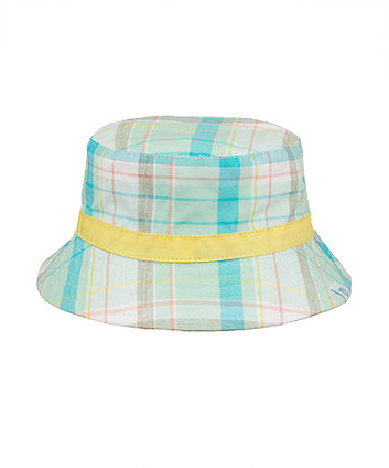 Green Check Sun Hat