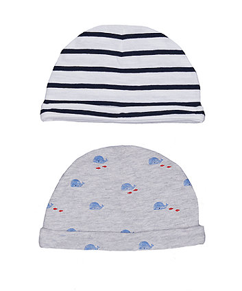 Mothercare Whale And Stripe Hats – 2 Pack