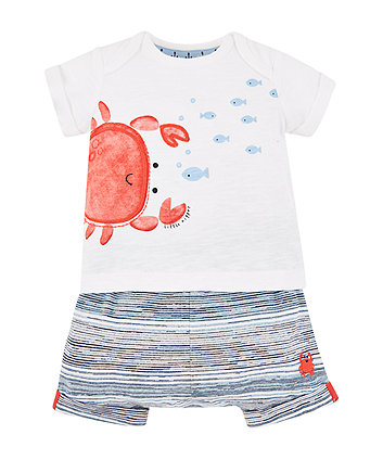 Mothercare Crab T-Shirt And Stripe Shorts Set