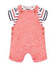 Red Bibshorts And Stripe Bodysuit Set