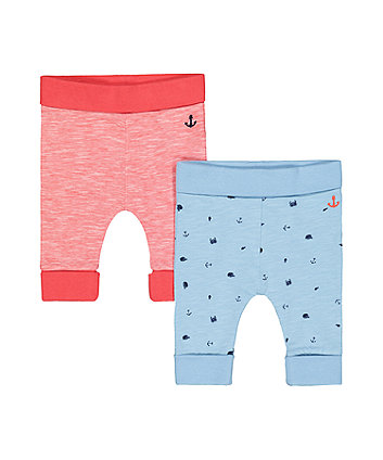 Mothercare Red Anchor And Blue Whale Joggers - 2 Pack