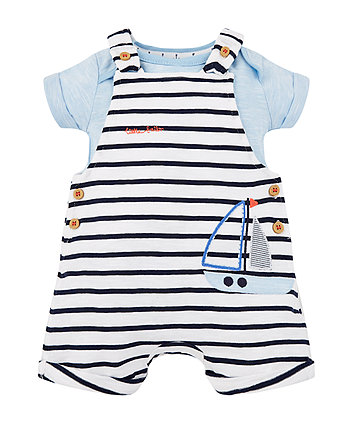 Mothercare Stripe Boat Bibshorts And Blue Bodysuit Set