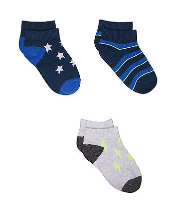 Star And Stripe Trainer Socks - 3 Pack