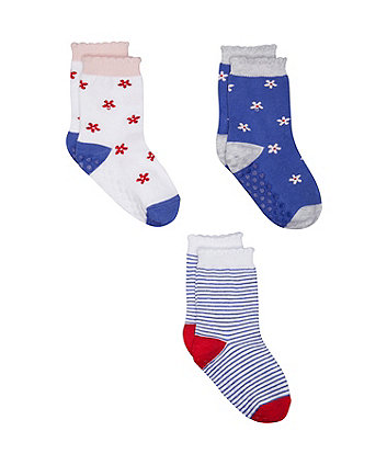 Mothercare Floral And Stripe Socks - 3 Pack