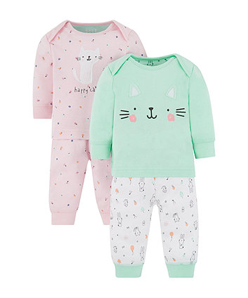 Cat And Fruit Pyjamas - 2 Pack (Size - Newborn)