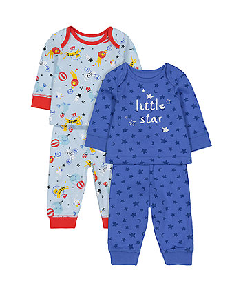 Little Star Circus Pyjamas - 2 Pack (Size - Newborn)