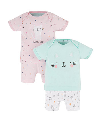 Cat Shortie Pyjamas - 2 Pack (Size - Newborn)