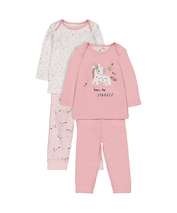 Unicorn And Star Pyjamas - 2 Pack (Size - Newborn)