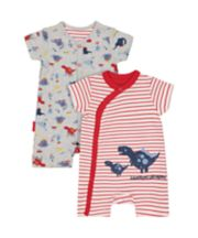 Striped Dinosaur Rompers - 2 Pack