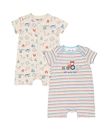Farm Rompers - 2 Pack