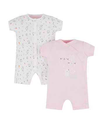 Pink Bunny And Cat Rompers - 2 Pack