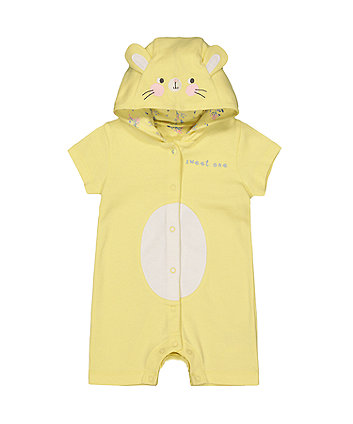 Mothercare Yellow Bunny Hooded Romper