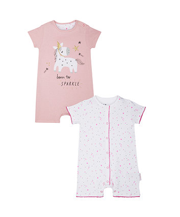 Sparkly Unicorn Rompers - 2 Pack
